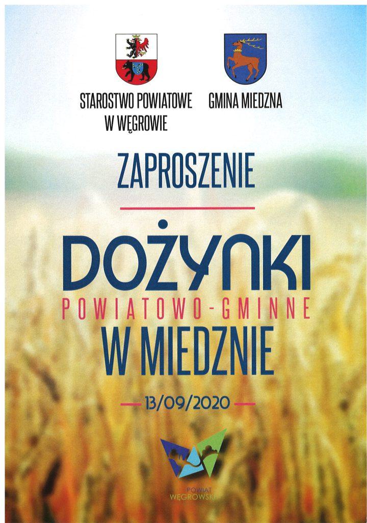 Zaproszenie na Dożynki Powiatowo - Gminne w Miedznie
