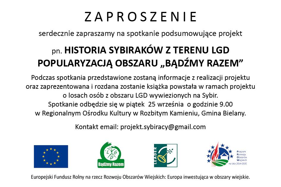 Zaproszenie - Historia Sybiraków