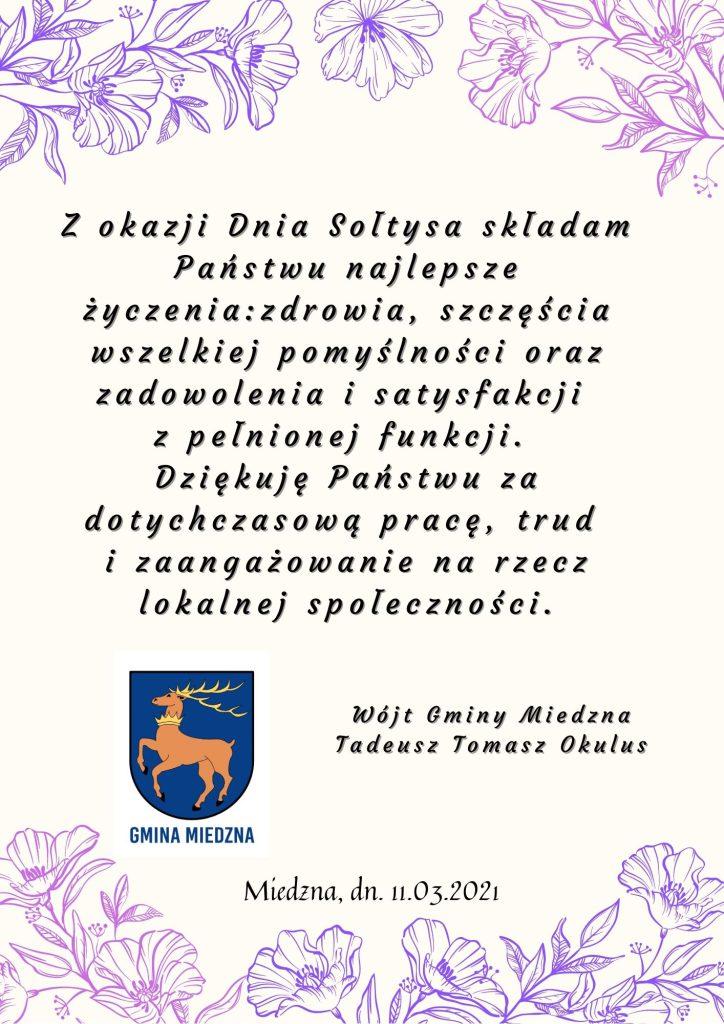 Życzenia dla sołtysów - tekst w treści wpisu